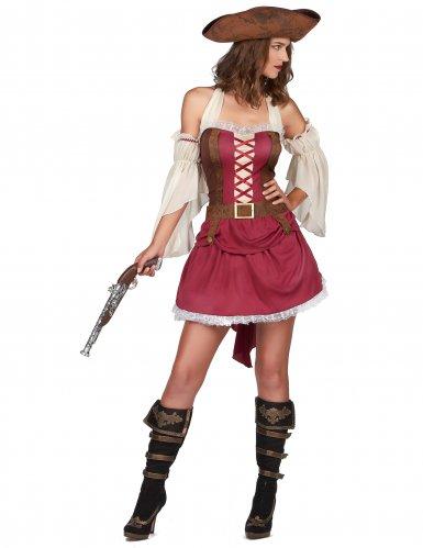Piratin der Weltmeere Damenkostüm rot-braun-weiss-1