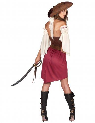 Piratin der Weltmeere Damenkostüm rot-braun-weiss-2