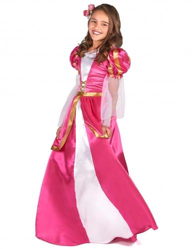 Mittelalterliches Prinzessinnen-Mädchenkostüm Burgfräulein pink-gold-1