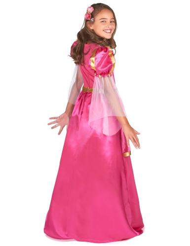Mittelalterliches Prinzessinnen-Mädchenkostüm Burgfräulein pink-gold-2