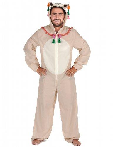 Humorvolles Lama-Kostüm für Herren weiss-bunt