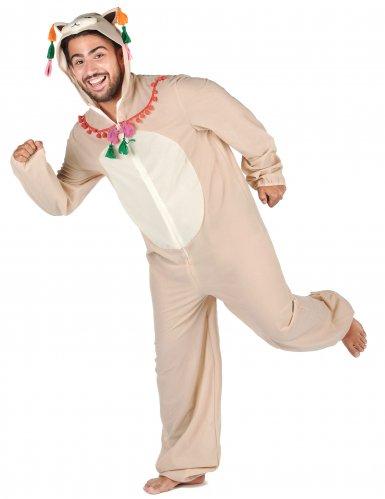 Humorvolles Lama-Kostüm für Herren weiss-bunt-1