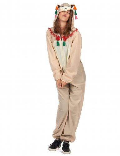 Lustiges Lama-Kostüm für Damen weiss-bunt