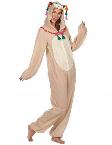 Lustiges Lama-Kostüm für Damen weiss-bunt-1