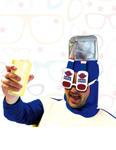 Captain-Wodka-Brille für Erwachsene rot-blau-weiß