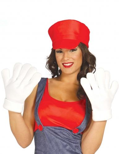 Riesen Handschuhe für Erwachsene weiss