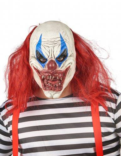 Horror-Clown-Maske für Erwachsene aus Latex weiß-rot