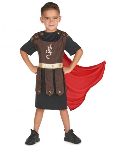 Kämpferisches Gladiatoren-Kostüm für Kinder schwarz-braun-rot