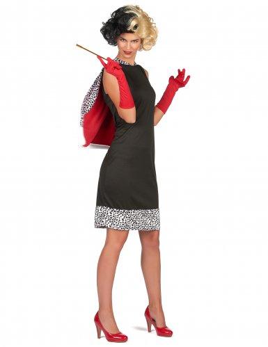 Böse Hundefängerin Damenkostüm Dalmatiner-Lady schwarz-weiss-rot