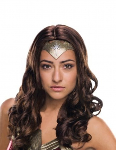 Wonder Woman™-Damen-Perücke Deluxe Lizenz braun