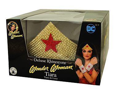 Wonder Woman™-Strass Krone für Damen Kostümzubehör gold-rot