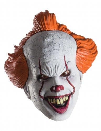 ES™-Clown-Horrormaske für Erwachsene weiss-rot-orange