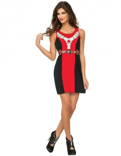 Deadpool™-Damenkostüm Lizenz-Verkleidung Fasching rot-schwarz