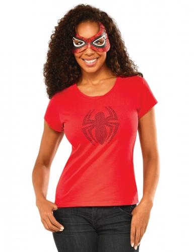 Spidergirl™-Damenkostüm-Set Shirt und Maske rot
