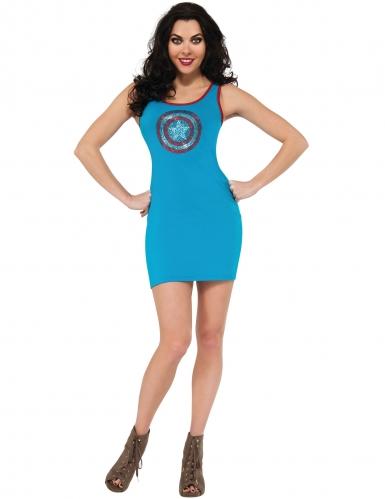 Captain America™-elegantes Damenkostüm Marvel blau-rot