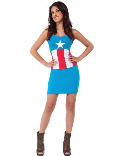 Captain America™-Lizenzkostüm für Damen Fasching blau-rot-weiss