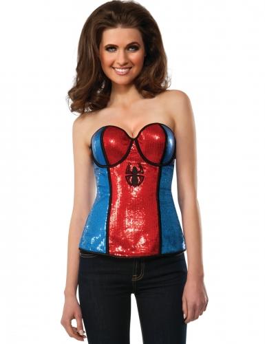 Sexy Spidergirl™-Korsage für Superheden blau-rot-schwarz