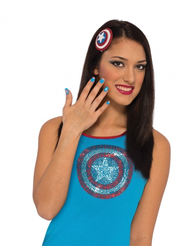 Captain America™ Kostüm-Set Accessoires 3-teilig blau-weiss-rot