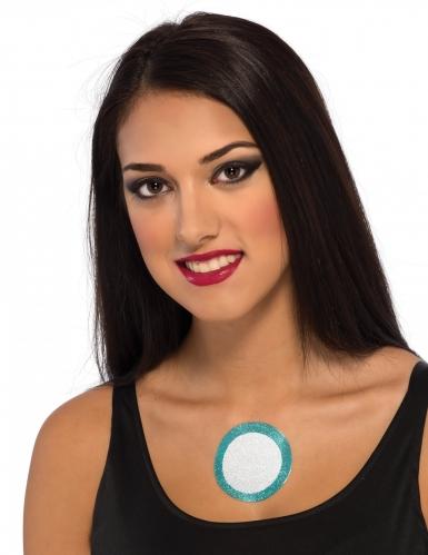 Iron Man™-Abzieh-Tattoo für Damen Kostüm-Accessoire weiss-blau