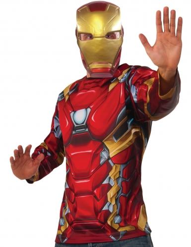 Iron Man™-Kostüm-Set Oberteil und Maske Lizenz rot-gold