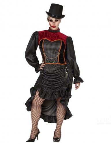 Historisches Vampirkostüm für Damen schwarz-rot-1