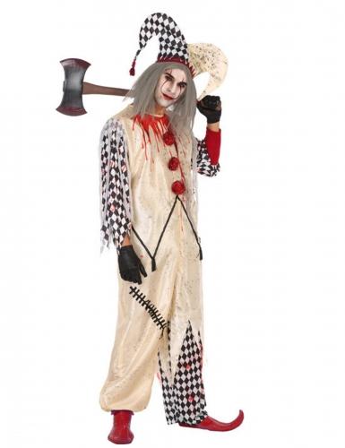 Blutiger Harlekin Zombie-Herrenkostüm Halloween weiss-rot-schwarz