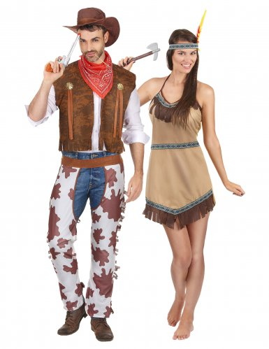 Cowboy und Indianer Paarkostüm für Erwachsene