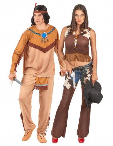 Indianer-Paarkostüm Western-Verkleidung für Erwachsene braun