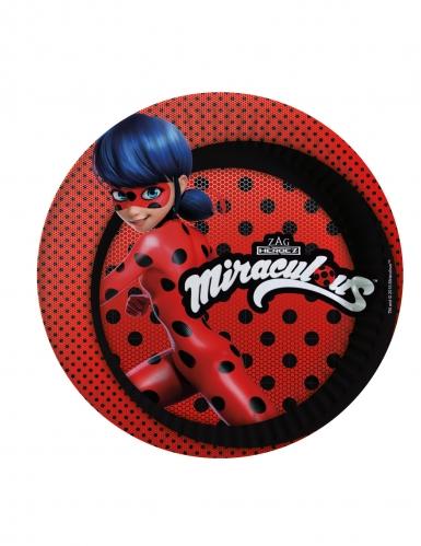 Ladybug™-Pappteller Lizenz-Tischzubehör für Kinder 8 Stück rot-schwarz-blau 23cm