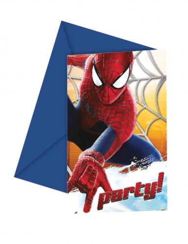 Spiderman™-Einladungskarten und Briefumschläge 6 Stück blau-rot 12x12,5cm