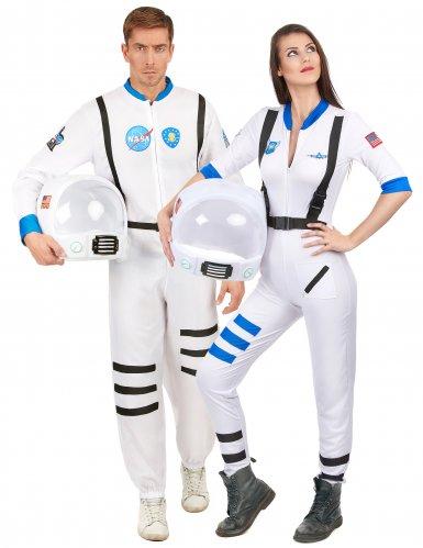 Astronauten Paarkostüm für Erwachsene Weltall weiss-blau