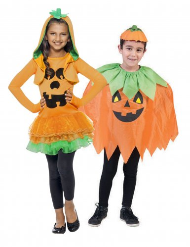 Lustiges Kürbis-Paarkostüm für kinder Halloween orange-grün