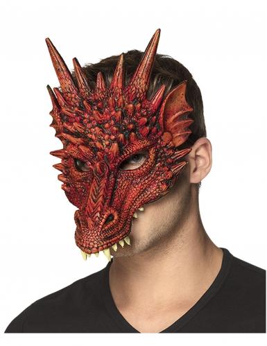 Drachenmaske für Erwachsene Halbmaske Kostümzubehör rot