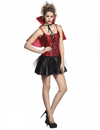 Dämonische Vampir-Lady Damenkostüm Halloween schwarz-rot