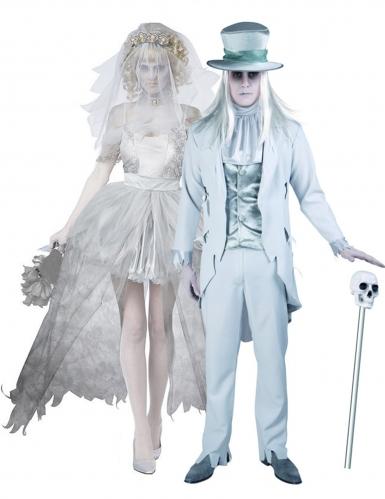 Gespenstisches Brautpaar-Partnerkostüm für Halloween Horror weiss-grau