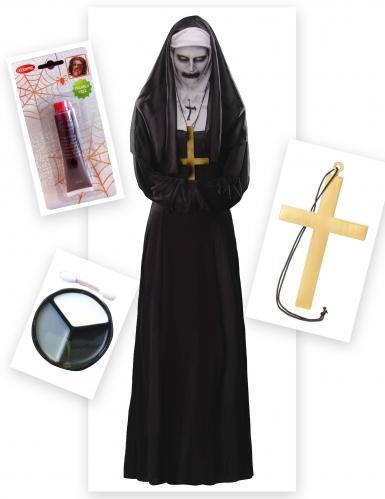 Verfluchte-Nonne Halloween-Damenkostüm-Set schwarz-weiss