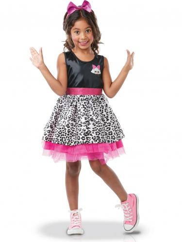 Diva-Mädchenkostüm LOL Surprise™ schwarz-weiss-rosa