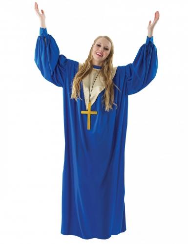 Gospelsängerin Damenkostüm für Karneval blau-gold