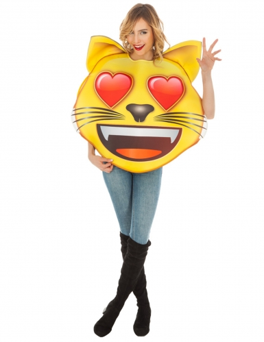 Emoji™-Katze mit Herzaugen Kostüm für Erwachsene gelb-rot