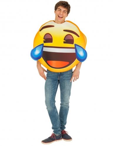 Lachendes Emoji™ mit Tränen Unisex-Kostüm für Erwachsene gelb-blau