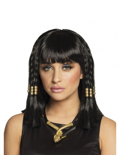 Ägyptische Damen-Perücke Antikes-Zubehör schwarz-gold