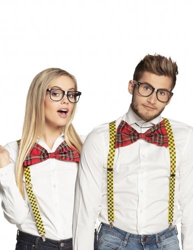 Streber-Set mit Brille und Fliege für Erwachsene