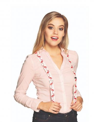 Flamingo-Hosenträger für Erwachsene weiss-pink