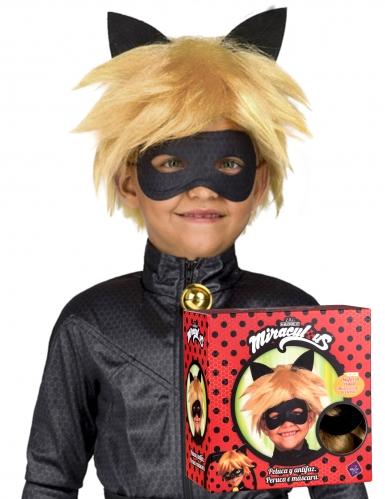 Cat Noir™-Perücke und Maske für Kinder Miraculous™ blond