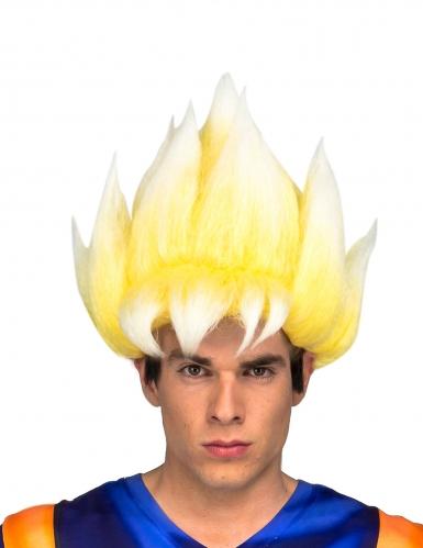 Super Saiyan Goku™-Perücke für Erwachsene Dragonball™ gelb-weiss
