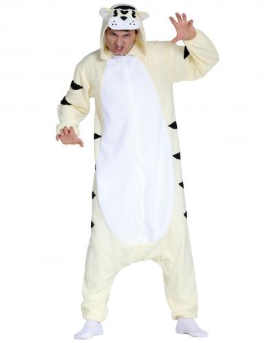 Weißer Tiger Kostüm-Overall für Erwachsene Tier-Verkleidung weiss-schwarz