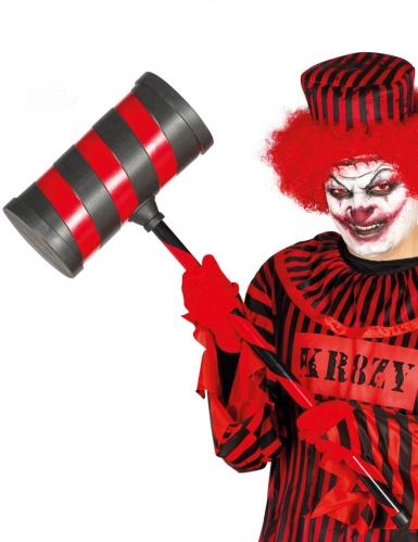 Killerclown-Hammer Kostümzubehör rot-schwarz 79 cm