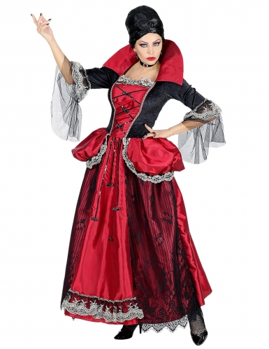 Vampir-Gräfin Barock-Kostüm für Damen Halloween schwarz-rot-1