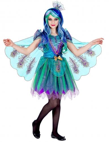 Pfauenkostüm für Mädchen Tier-Verkleidung türkis-blau-violett