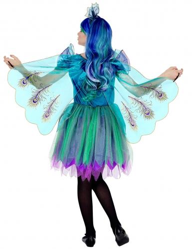 Pfauenkostüm für Mädchen Tier-Verkleidung türkis-blau-violett-1